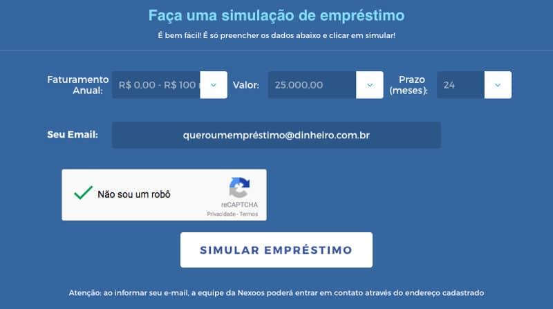 Simulação de empréstimo P2P para empresa Nexoos
