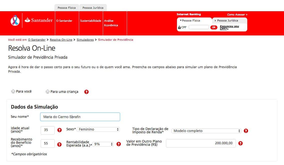 Simulador de Previdência Privada Santander